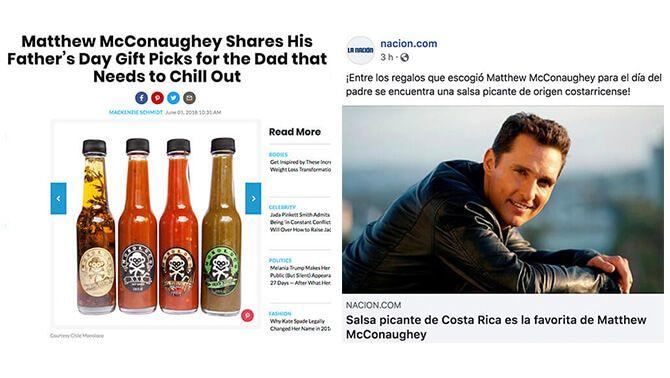Revista People publica lista de regalos para día del padre donde Mathew Mcconaughey dice que el vieja e patio de Monoloco es su chile favorito