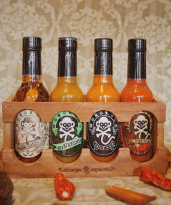 Wood Shelf with 4 Hot Sauces